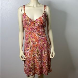 Ann Taylor Loft Paisley Dress With Gold Beads Sz 4